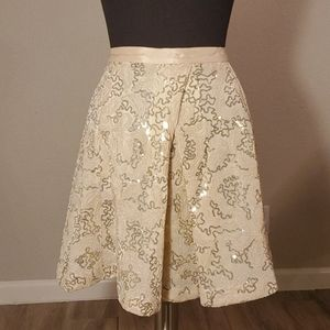PLENTY by TRACY REESE  Gold Sequin Overlap Skirt
